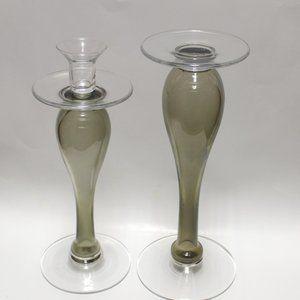 Poland Pair Mid-Century Handmade Blown Glass Candl